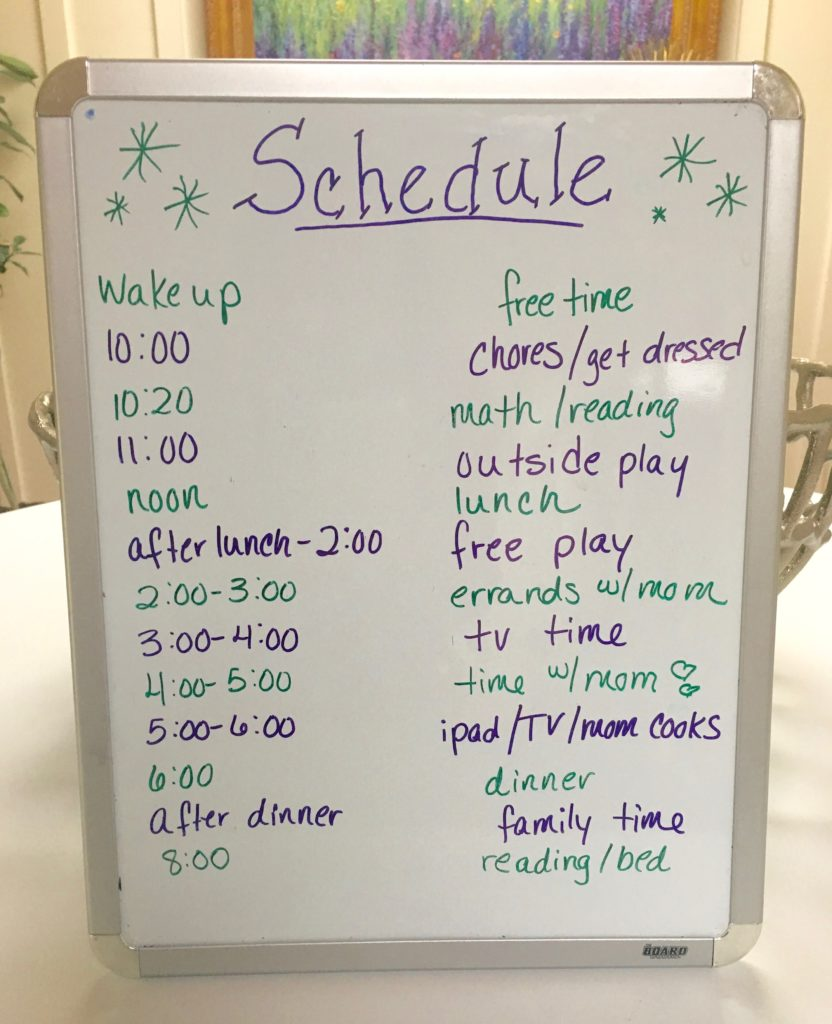 daily routine for kids over the summer