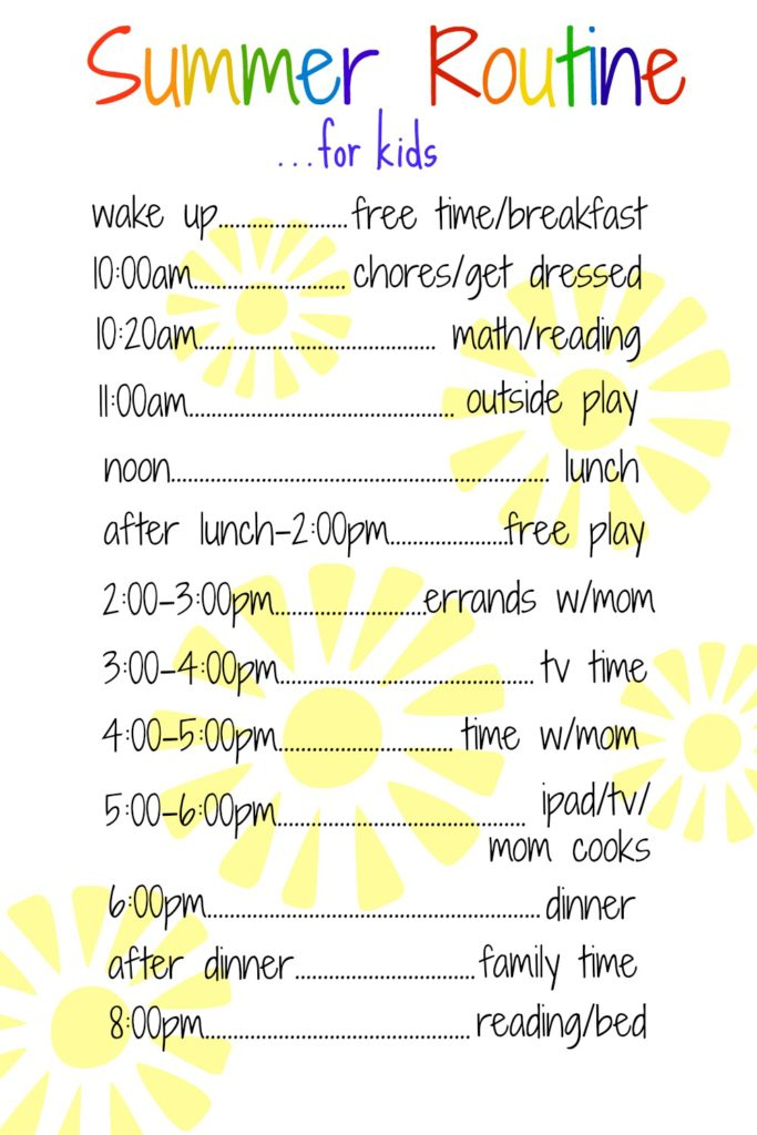 a daily routine for kids over the summer