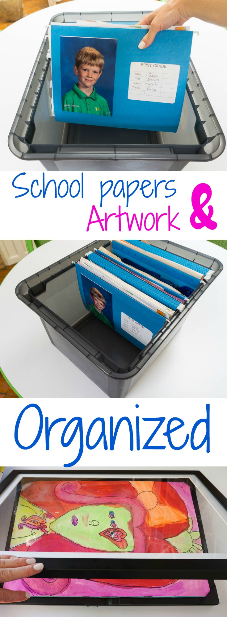 how to organize school papers and artwork kids