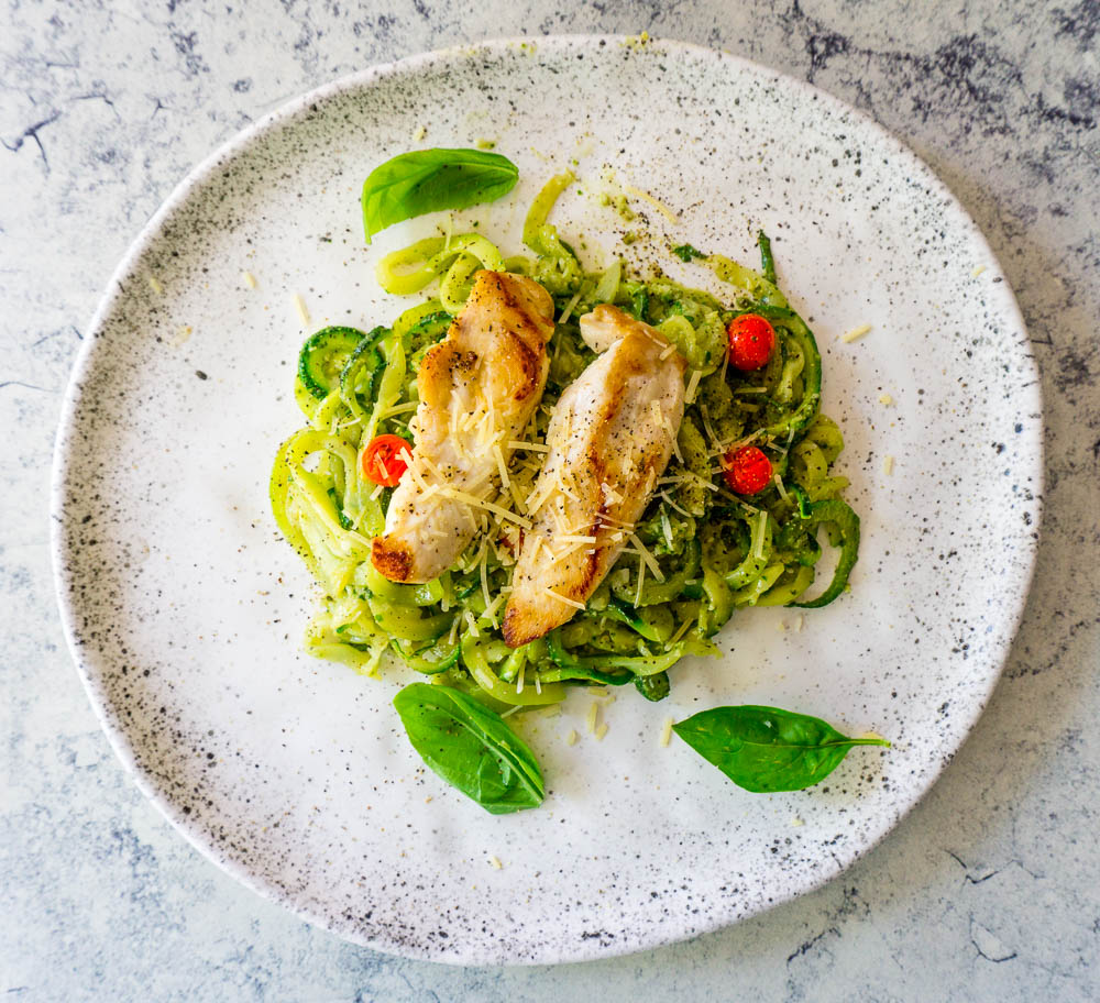 pesto chicken and zoodles