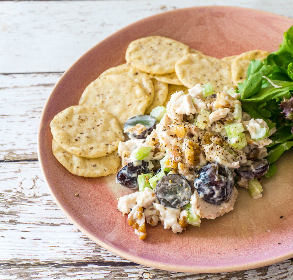 nutty chicken salad with grapes