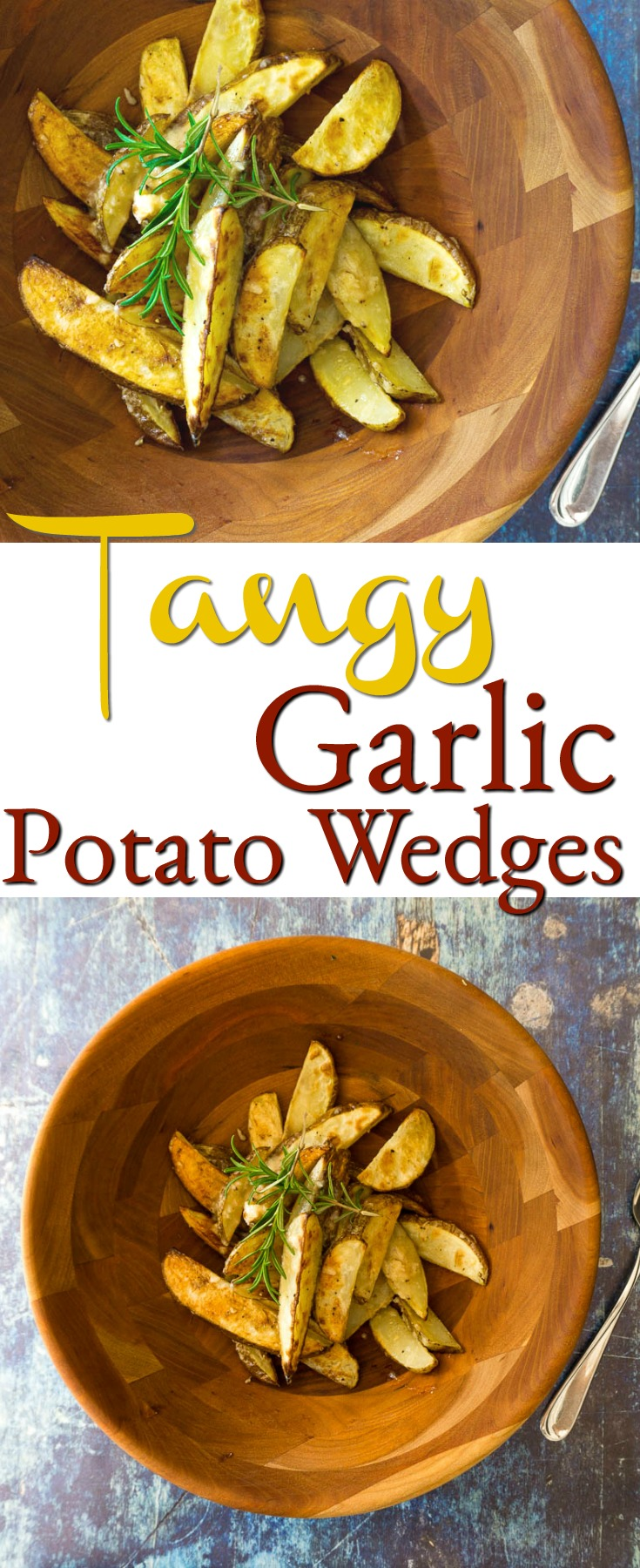 tangy garlic potato wedges