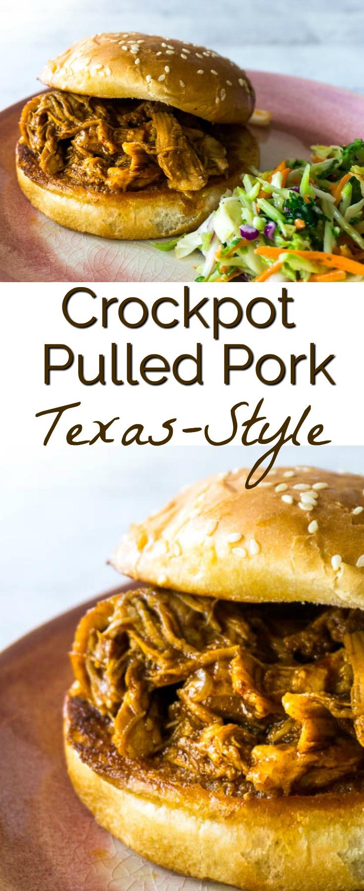 crockpot texas pulled pork bbq sandwich
